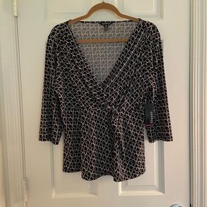 George Faux Wrap Top Large NWT